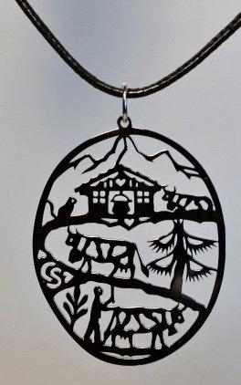 Collier ovale, motif poya, inox