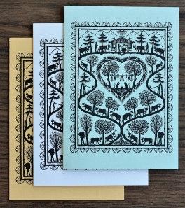 Cartes doubles A6 avec enveloppe, poya verticale (3 pièces)