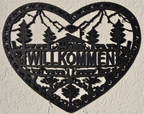 Coeur Willkommen en MDF découpé