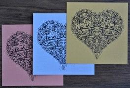 Cartes doubles carrées, coeur & Catherinosaures (3 pièces)