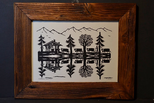 Poya reflets cadre bois ancien