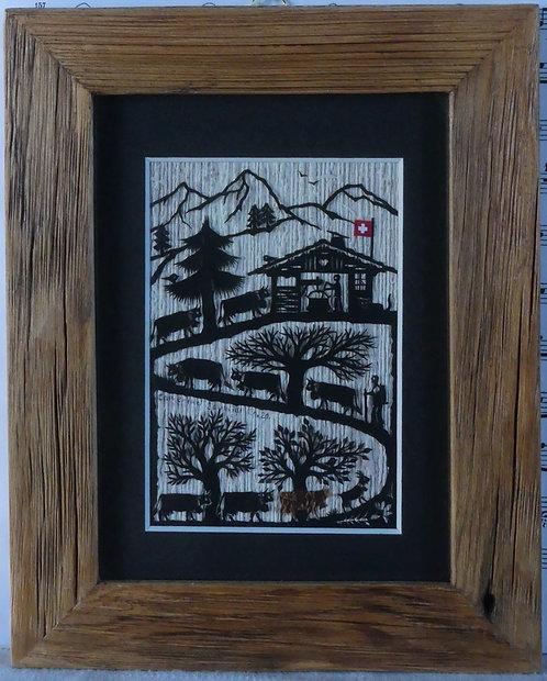 Poya, passepartout noir, cadre en vieux bois, 18 x 22.5 cm