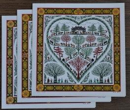 Cartes doubles carrées avec enveloppe, poya coeur (3 pièces)