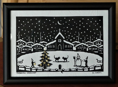 village sous la neige, 10.3 x 14.3 cm