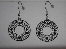 Boucles d'oreille, motif cercle, inox