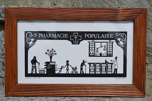 Pharmacie populaire cadre bois ancien