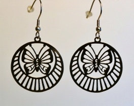 Boucles d'oreille, motif papillon, inox