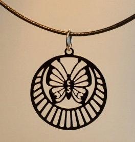 Collier, motif papillon, inox