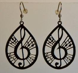 Boucles d'oreille, motif musique, inox