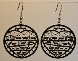 Boucles d'oreille rondes, motif poya, inox