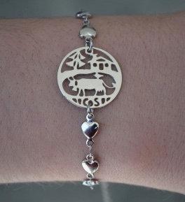 Bracelet, motif vache, inox
