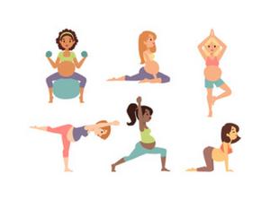 Pregnant ladies performing pilates exercises