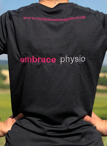 Holding back in pain- embrace physio logo