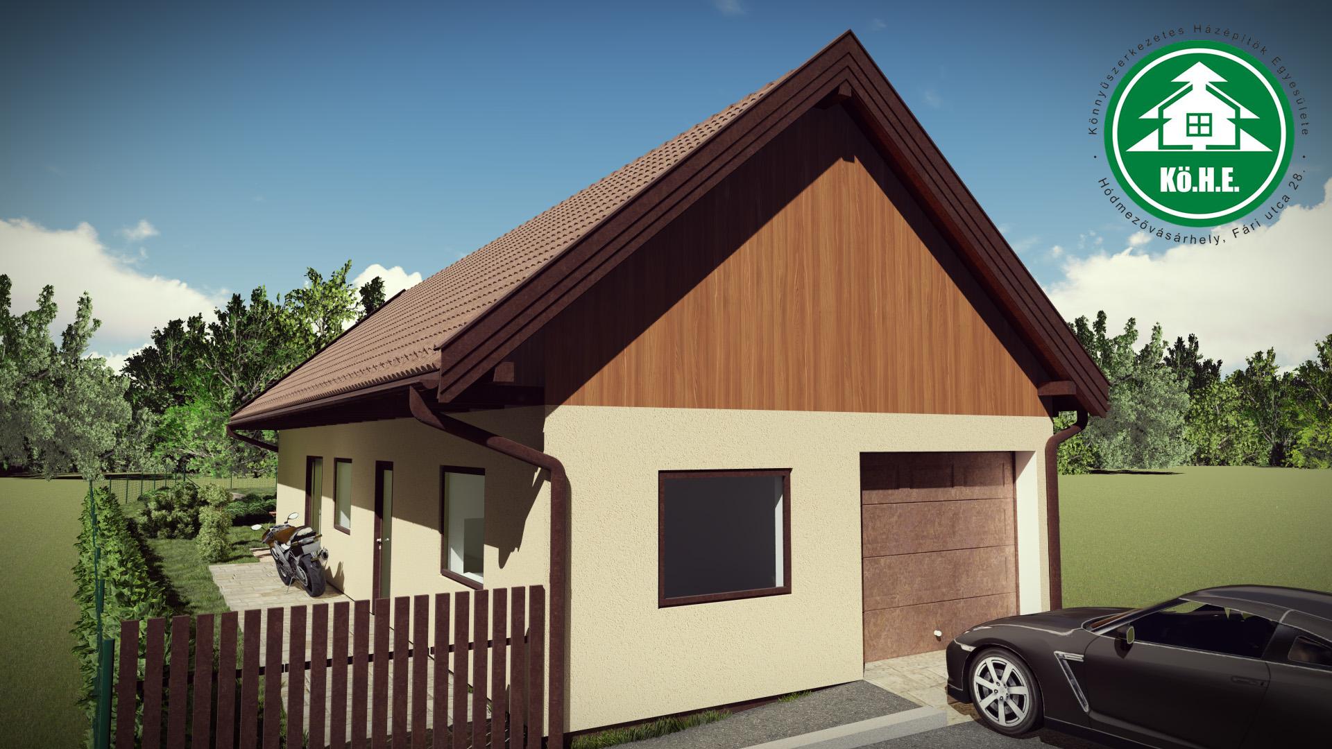 Könnyűszerkezetes ház - Beépített garázs
