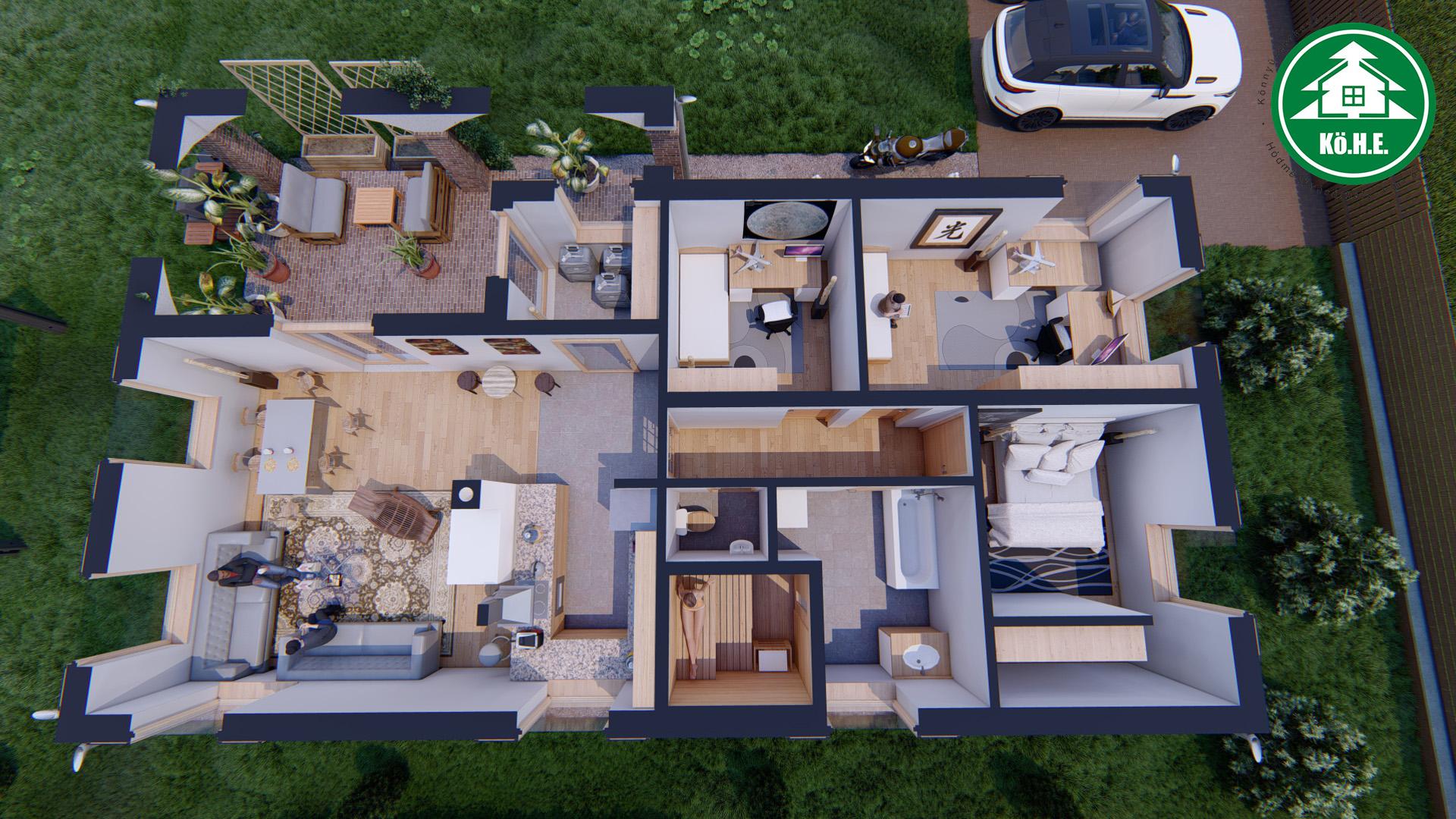 Könnyűszerkezetes ház - L alaprajzi látvány