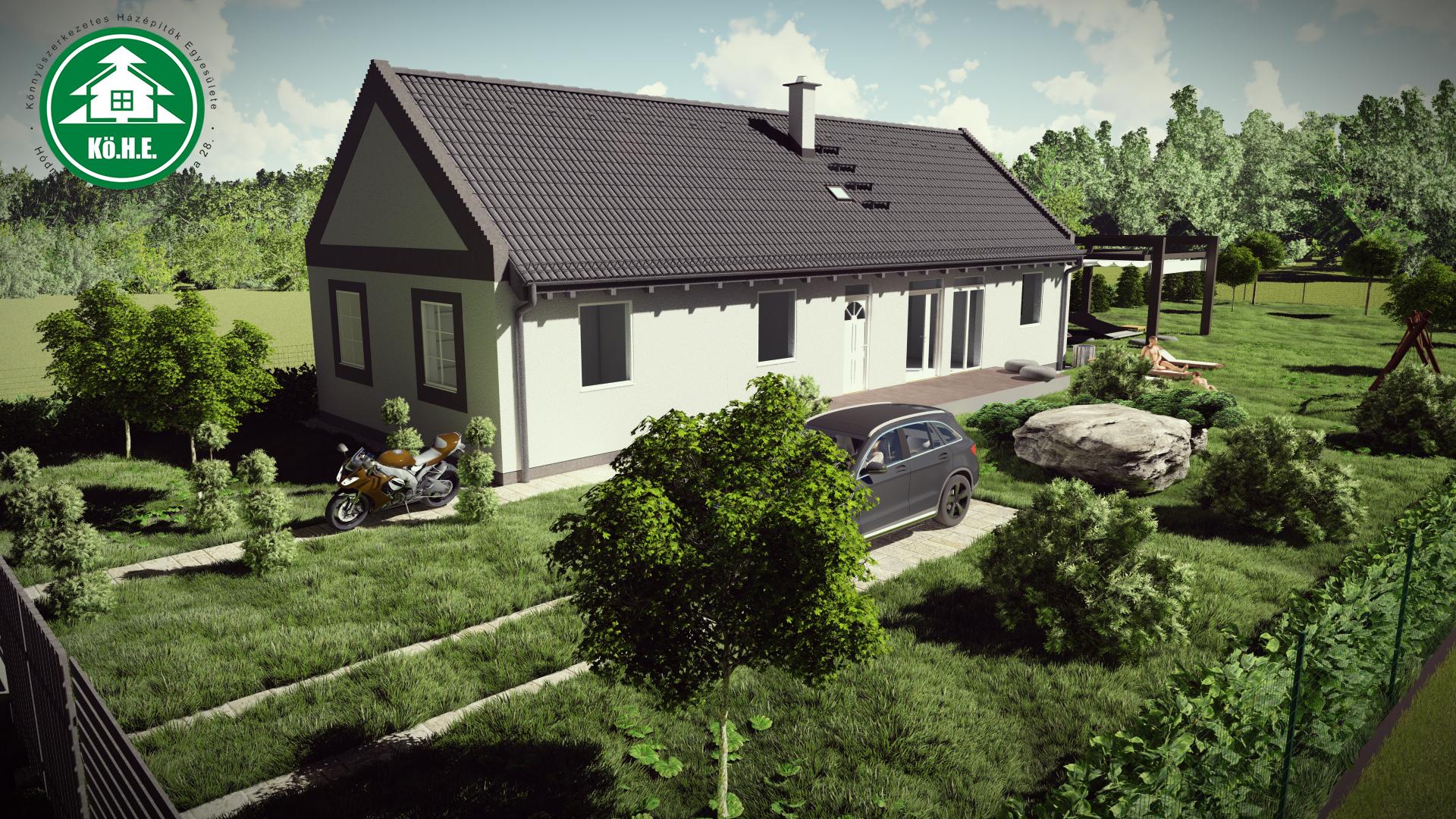 Könnyűszerkezetes ház - Oldalterasz