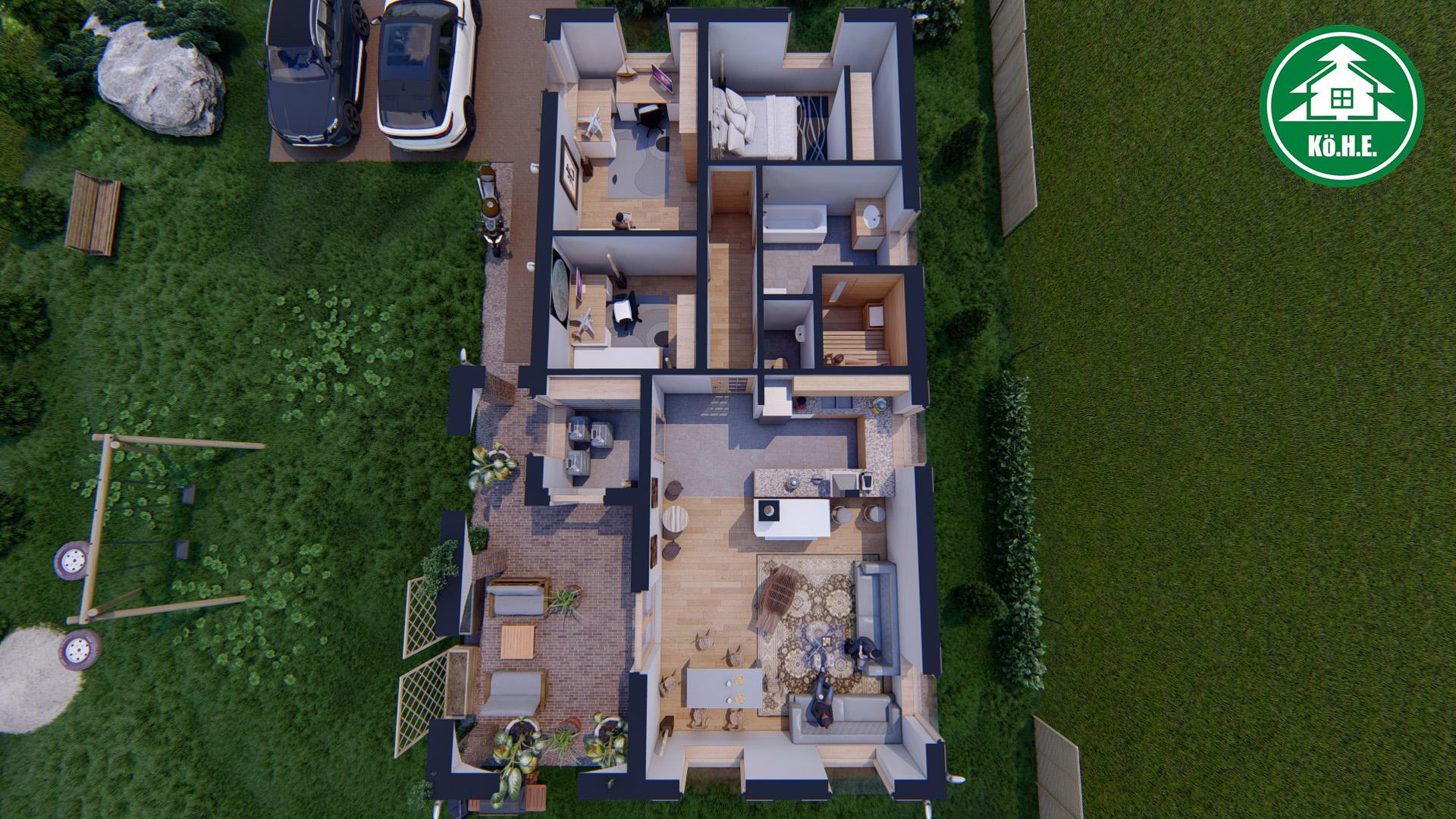 Könnyűszerkezetes ház - L alaprajzi belső nézet 2.