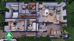 Könnyűszerkezetes ház - L alaprajzi belső nézet