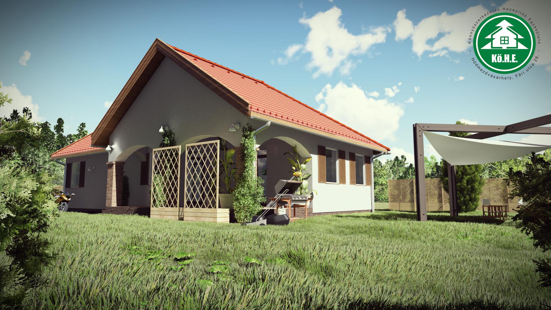 Könnyűszerkezetes ház - Boltíves terasz