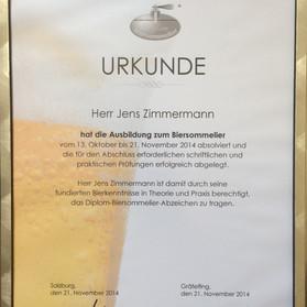 Urkunde Diplom-Biersommelier