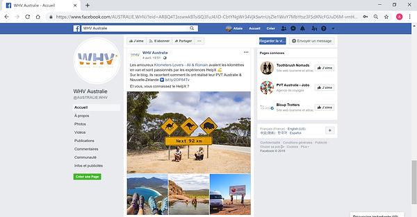 Chapka WHV Australie Partage Facebook