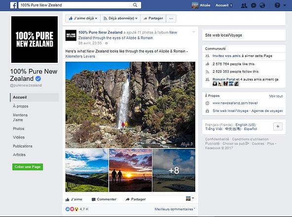 100% Pure New Zealand Partage Facebook NZ