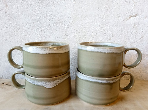 NEW wide cups in green glaze