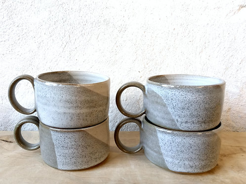 NEW short coffee cup with mottled grey