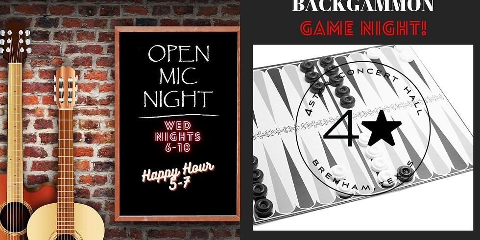 OPEN MIC NIGHT & BACKGAMMON GAME NIGHT!