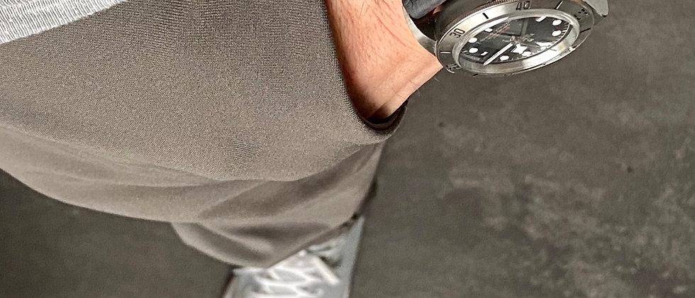 BLACK full grain leather strap GRAY stitch