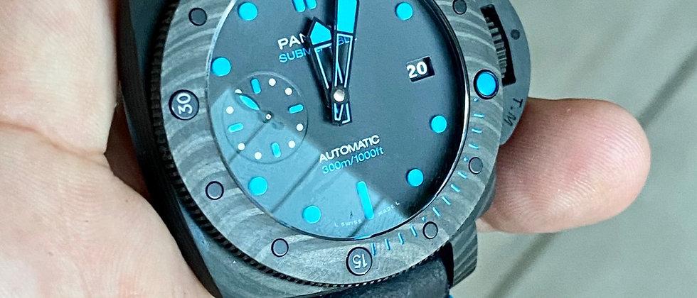 Matte BLACK ADD top grain leather strap Bright BLUE Stitching