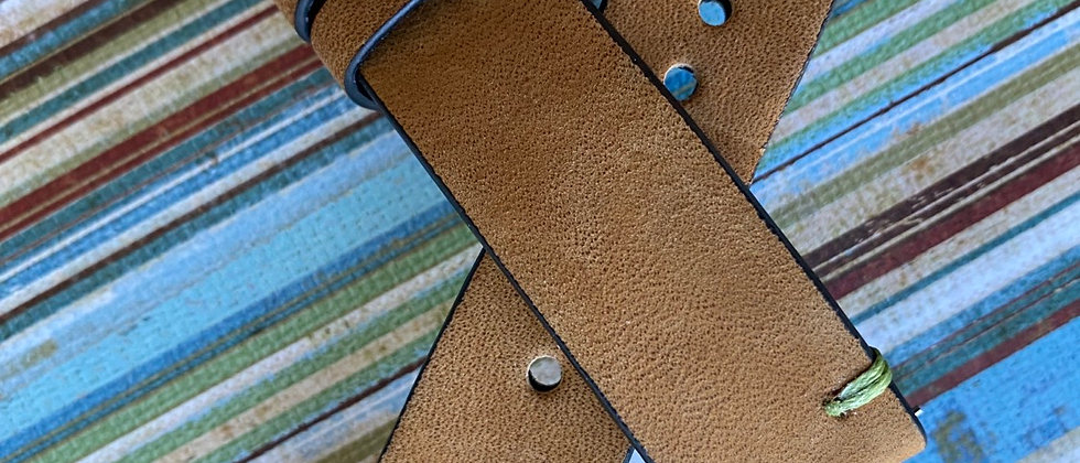 Light BROWN thick Nubuck leather vintage GREEN stitch