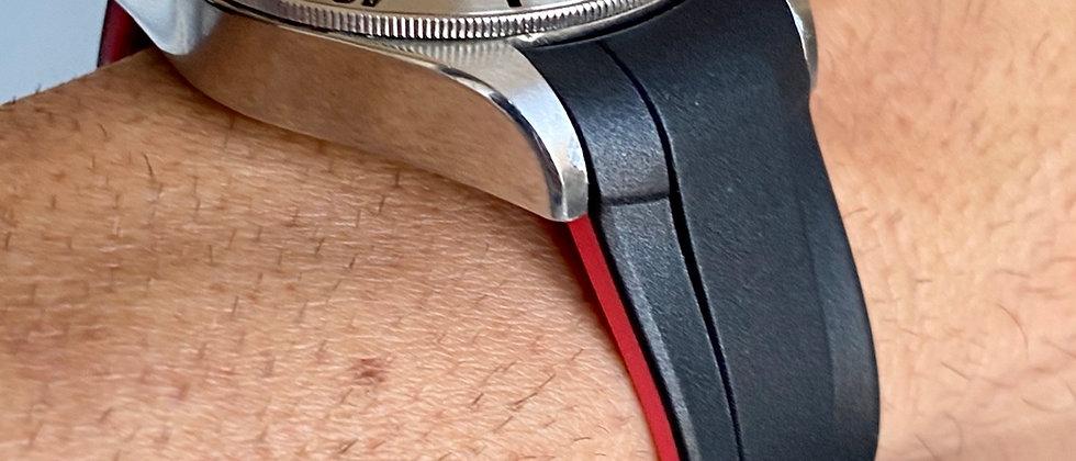 22mm BLACK RED Vulcanized Rubber strap for Tudor Black Bay