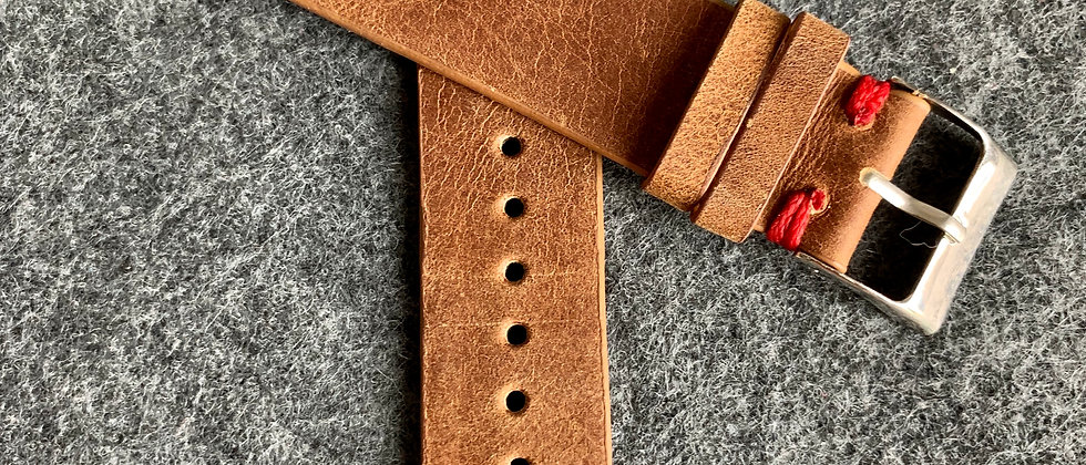 BROWN Vintage Leather strap RED stitching
