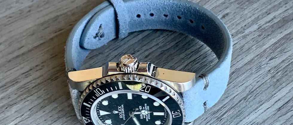 Light Blue Suede Vintage Leather strap GRAY stitching