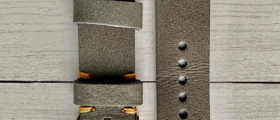 GRAY top grain Leather strap Light ORANGE stitch