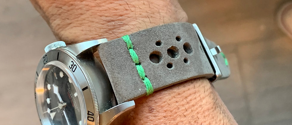 GRAY Thick, Crazy Horse Leather Racing watch strap - GREEN LINE Stitching