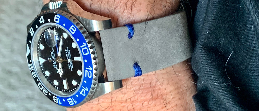Gray Crazy Horse Leather strap (GMT) BLACK & BLUE