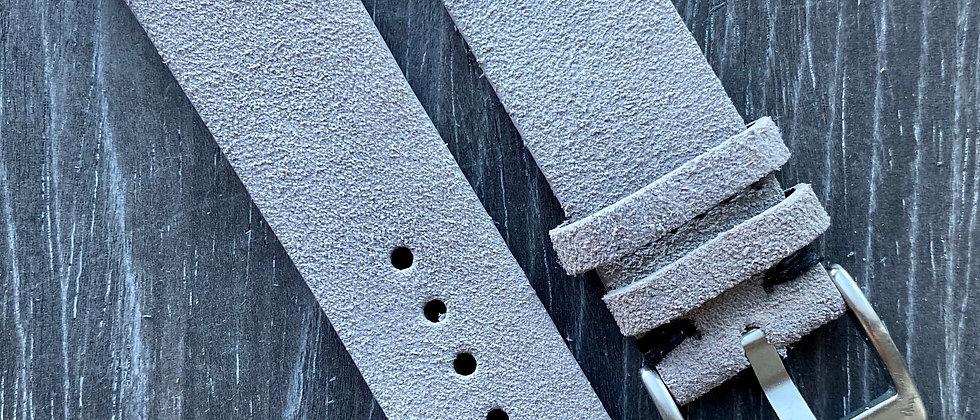 Light Gray Suede Vintage Leather strap band BLACK stitch