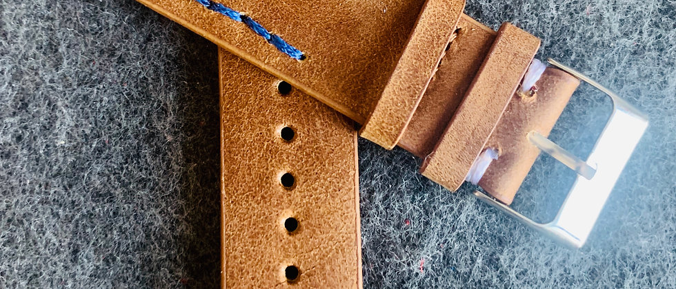 BROWN Vintage Leather strap BLUE WHITE stitching