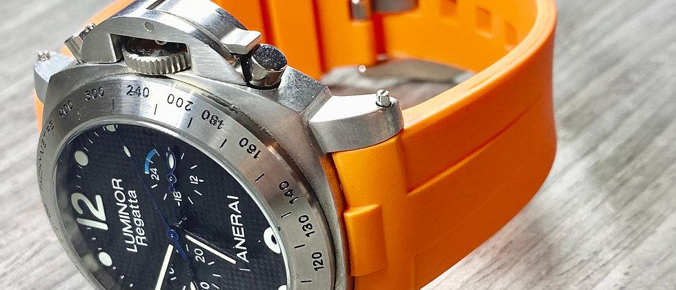 24mm ORANGE Vulcanized Rubber Strap for Panerai Luminor - Perfect fit Gre