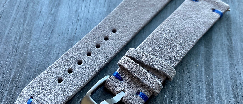 Light GRAY Suede Vintage Leather strap band BLUE stitch