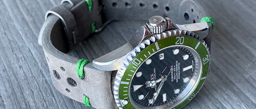 GRAY Thick, Crazy Horse Leather Racing watch strap GREEN Stitch