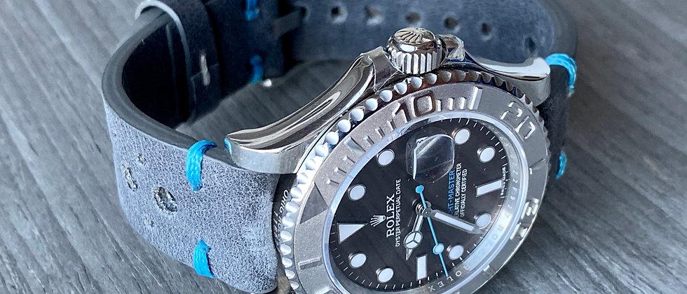 DARK GRAY Thick, Crazy Horse Leather Racing watch strap Lt. BLUE Stitch