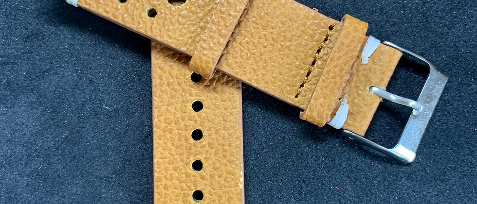 Light BROWN Horween Vintage Rally (racing) Leather strap WHITE stitching