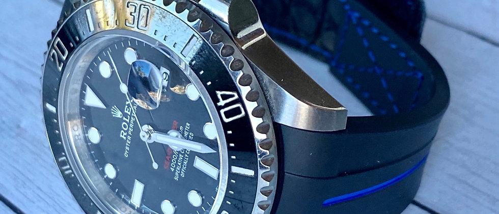 22mm BLACK Vulcanized Rubber strap (blue stripe) for 43mm Rolex Sea Dweller