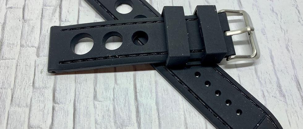 Thick Black Rubber Strap Black Stitching
