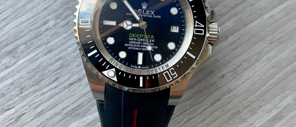 21mm Black Vulcanized Flared Rolex Rubber Strap RED stripe DeepSea