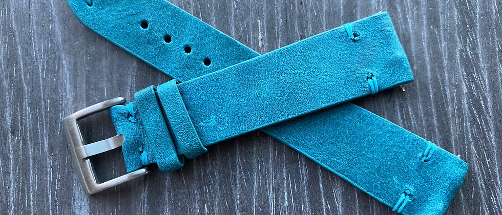 AQUA Thin Vintage Leather strap band Thin AQUA stitch