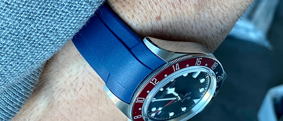 22mm BLUE Vulcanized Rubber strap for TUDOR Black Bay watches